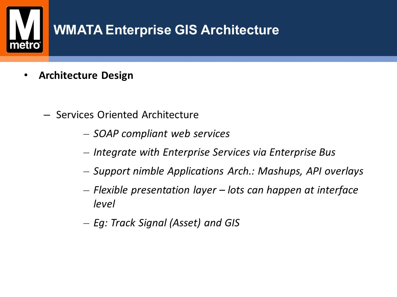WMATA Enterprise GIS Architecture