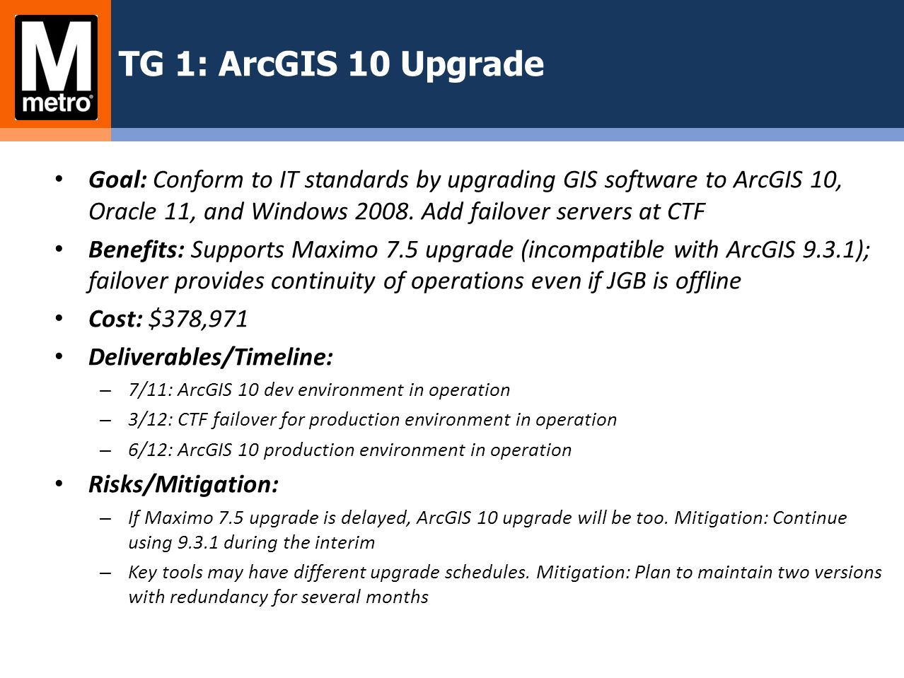 TG 1: ArcGIS 10 Upgrade