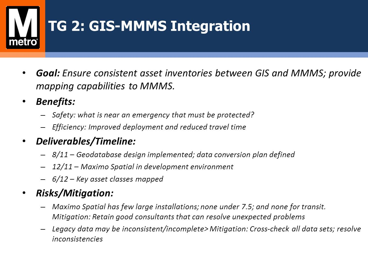 TG 2: GIS-MMMS Integration