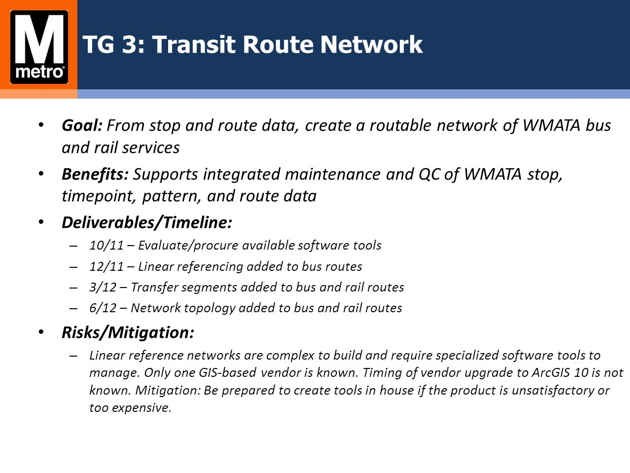 TG 3: Transit Route Network