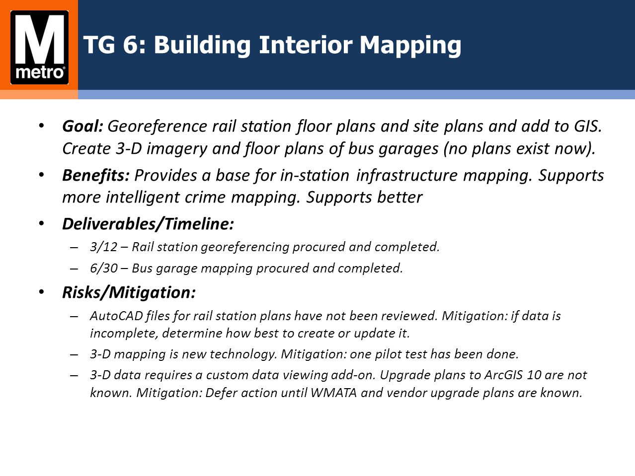 TG 6: Building Interior Mapping