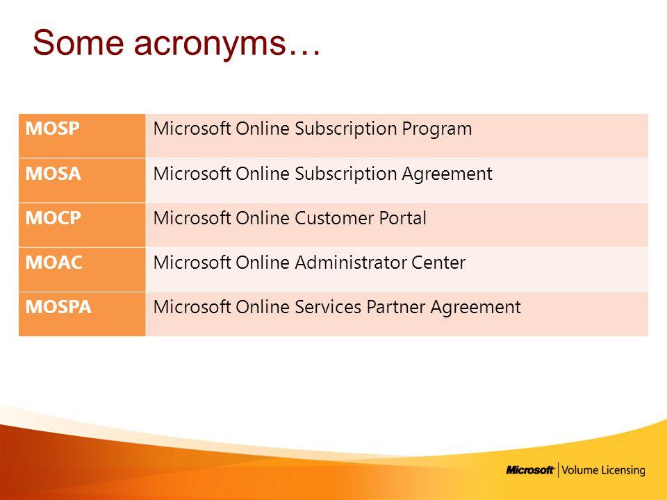 Some acronyms… MOSP Microsoft Online Subscription Program MOSA