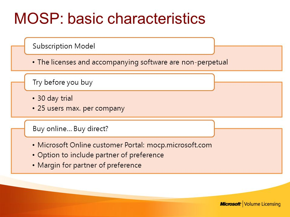 MOSP: basic characteristics