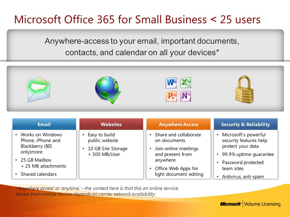 Microsoft Office 365 for Small Business ˂ 25 users