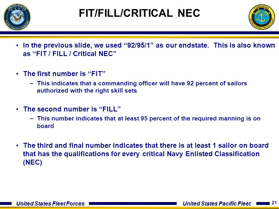 FIT/FILL/CRITICAL NEC