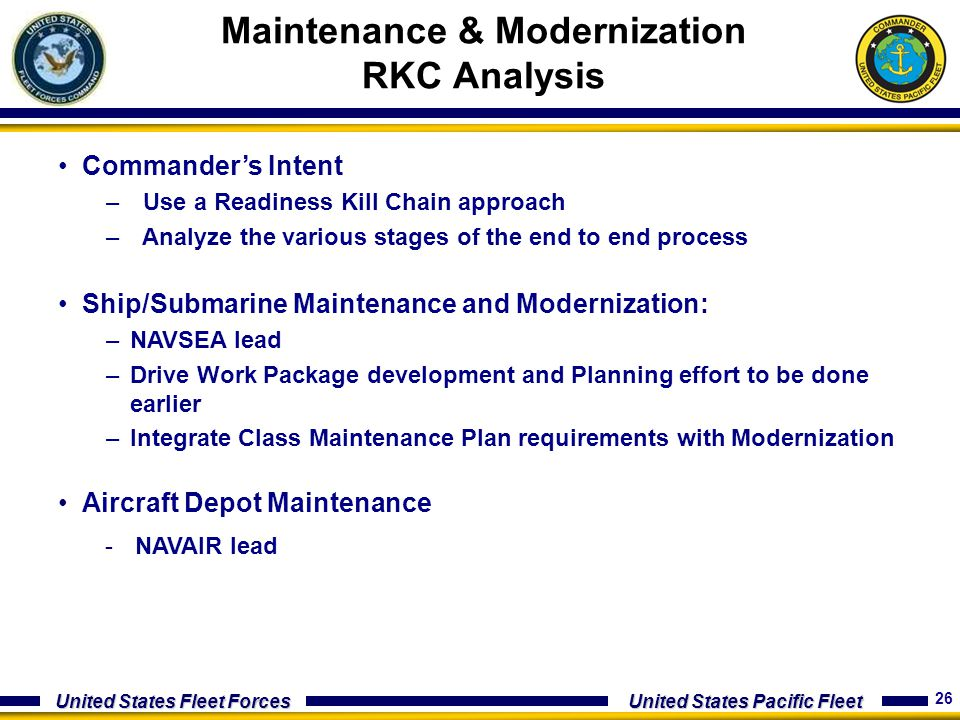 Maintenance & Modernization RKC Analysis