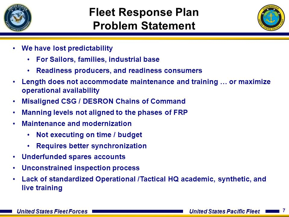 Fleet Response Plan Problem Statement