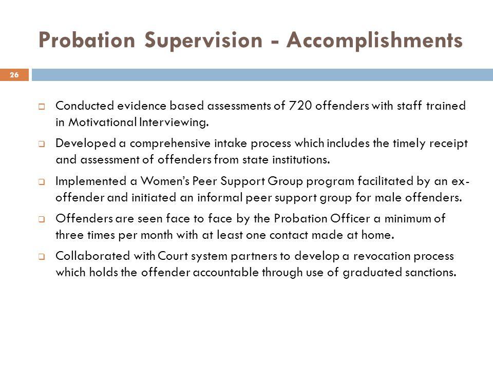 Probation Supervision - Accomplishments