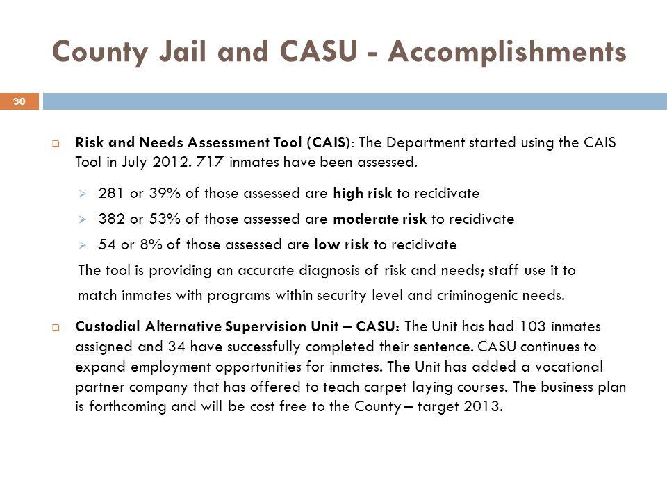 County Jail and CASU - Accomplishments