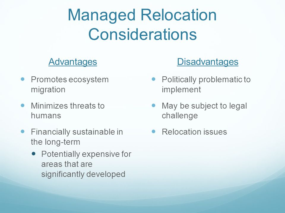 Managed Relocation Considerations