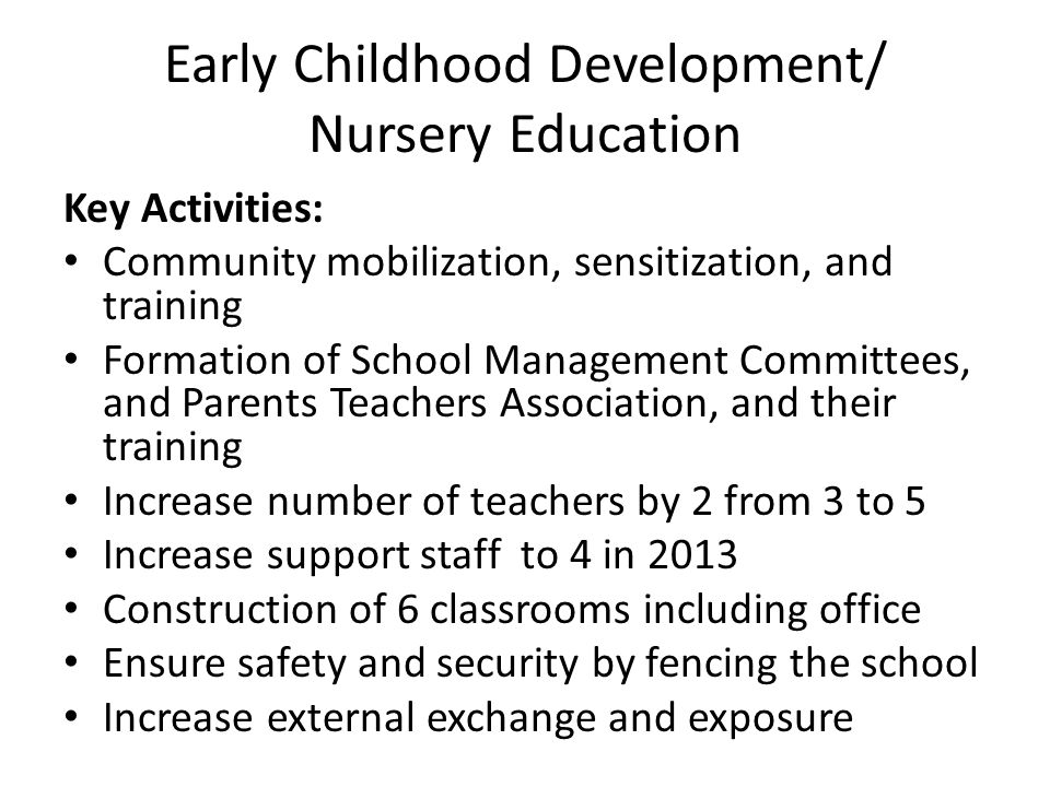 Early Childhood Development/ Nursery Education