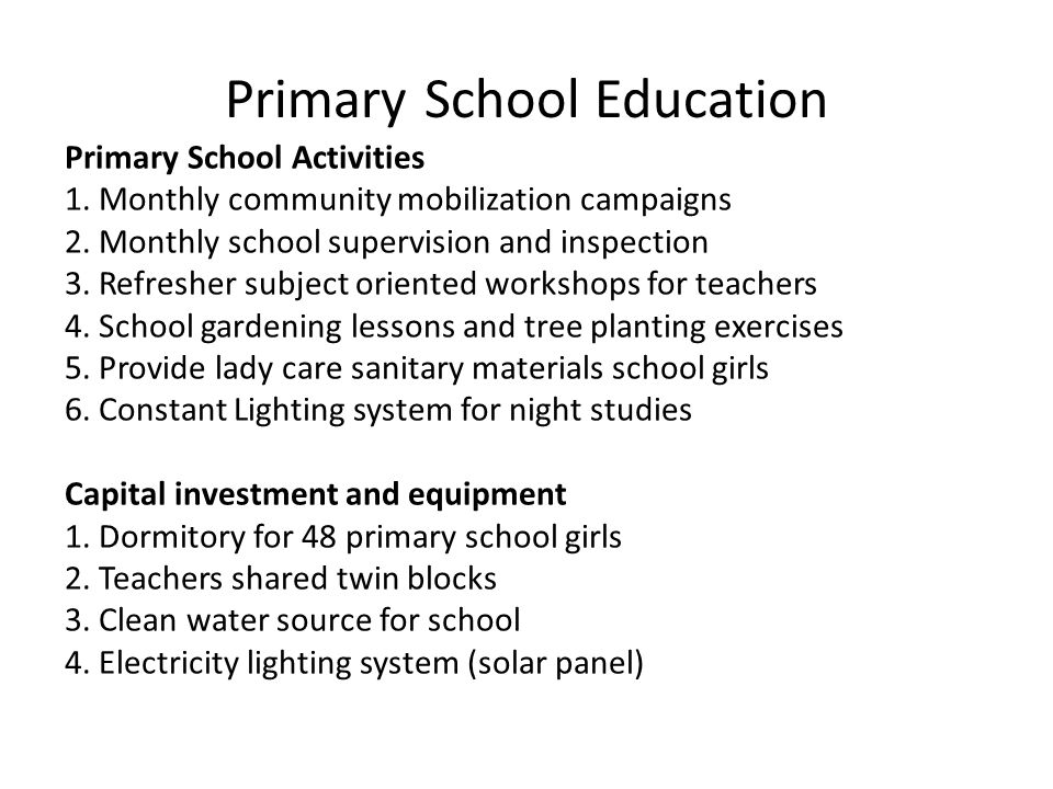 Primary School Education