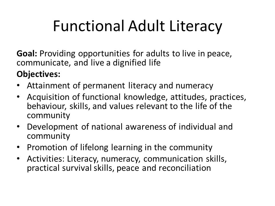Functional Adult Literacy