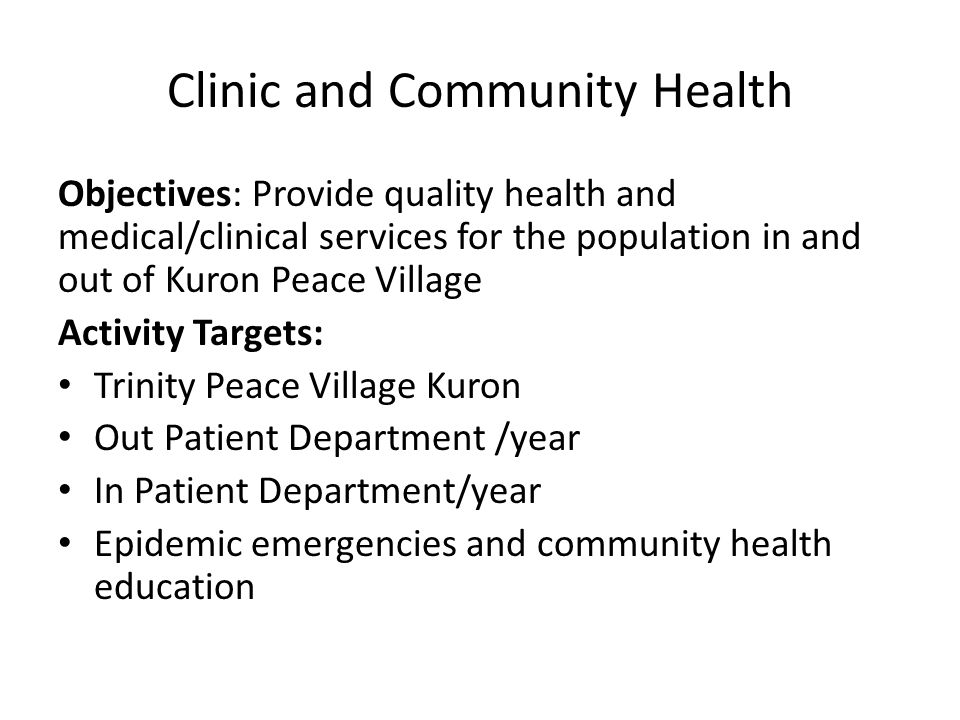 Clinic and Community Health