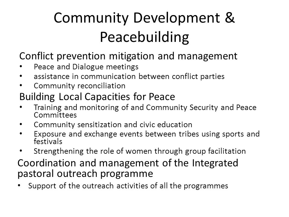 Community Development & Peacebuilding