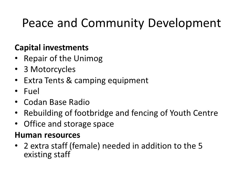 Peace and Community Development