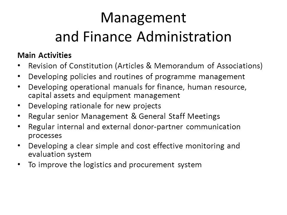 Management and Finance Administration