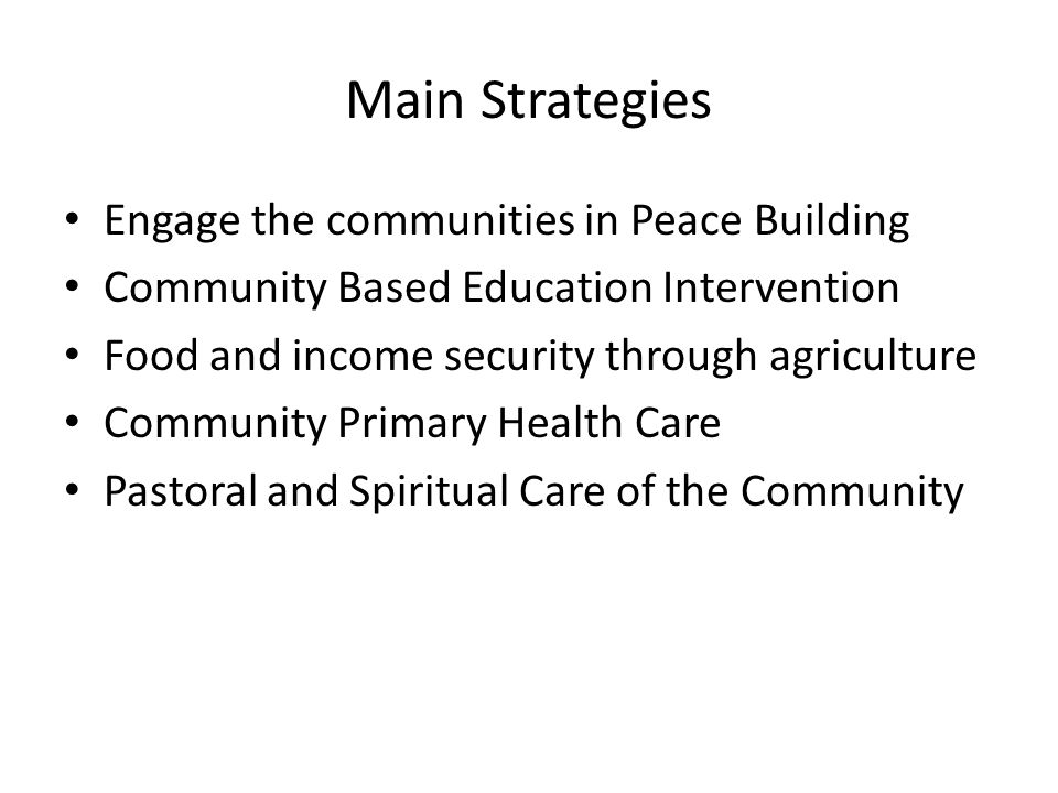 Main Strategies Engage the communities in Peace Building