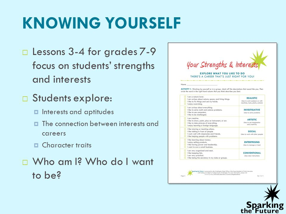KNOWING YOURSELF Lessons 3-4 for grades 7-9 focus on students' strengths and interests. Students explore: