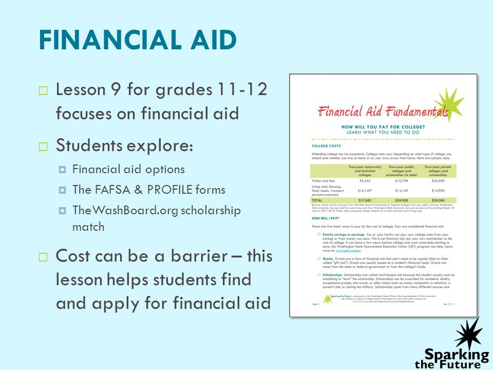 FINANCIAL AID Lesson 9 for grades 11-12 focuses on financial aid