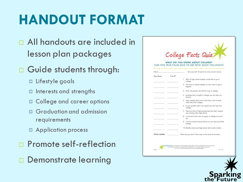 HANDOUT FORMAT All handouts are included in lesson plan packages