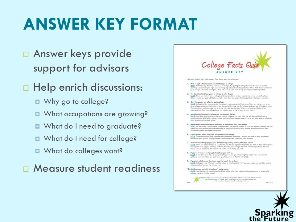 ANSWER KEY FORMAT Answer keys provide support for advisors