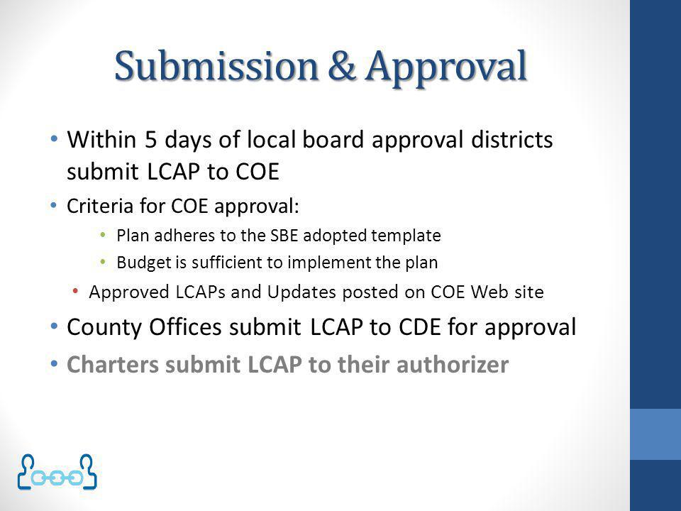 Submission & Approval Within 5 days of local board approval districts submit LCAP to COE. Criteria for COE approval: