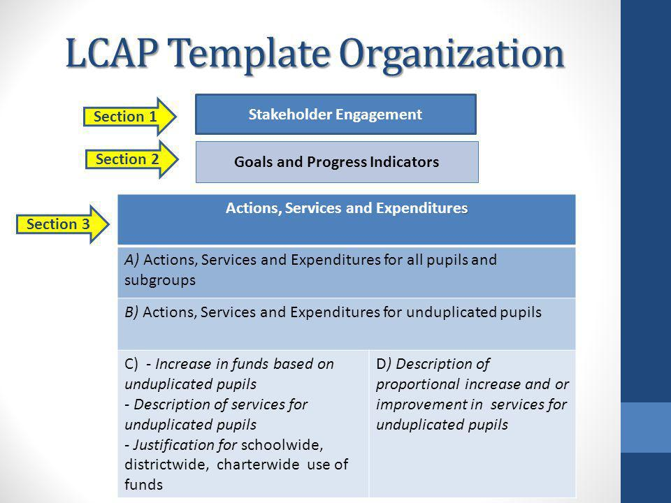 LCAP Template Organization