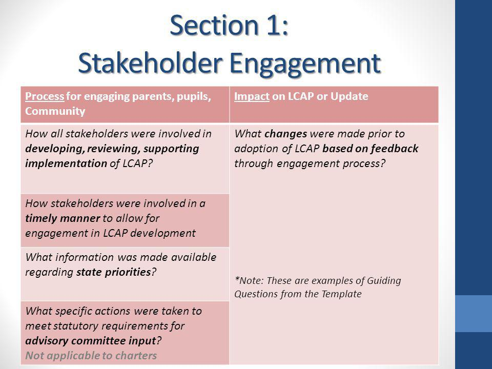 Section 1: Stakeholder Engagement