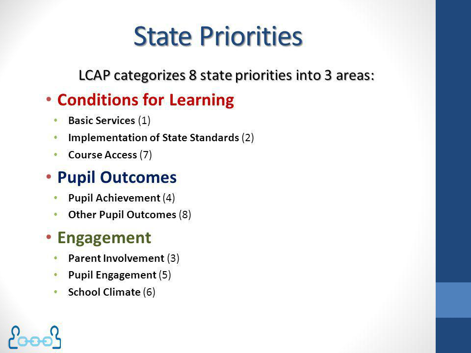 LCAP categorizes 8 state priorities into 3 areas: