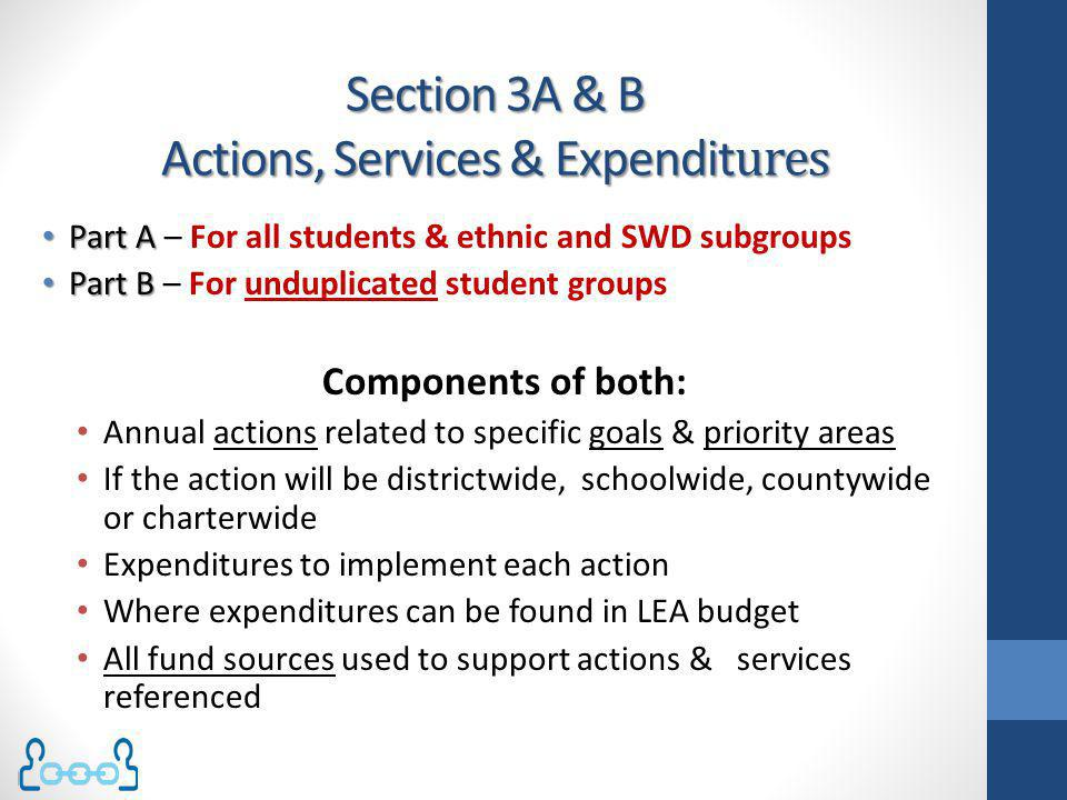 Section 3A & B Actions, Services & Expenditures