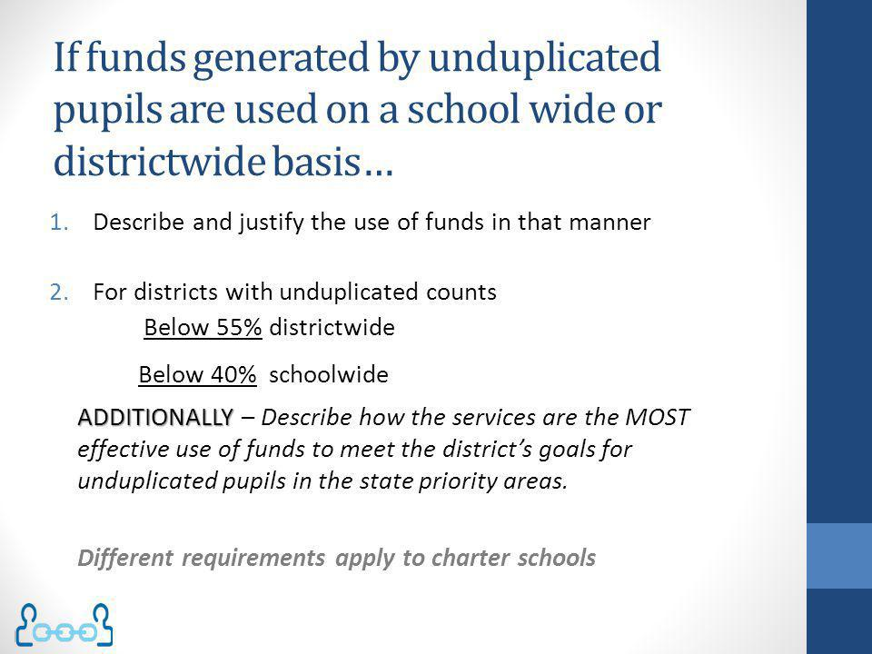 If funds generated by unduplicated pupils are used on a school wide or districtwide basis…