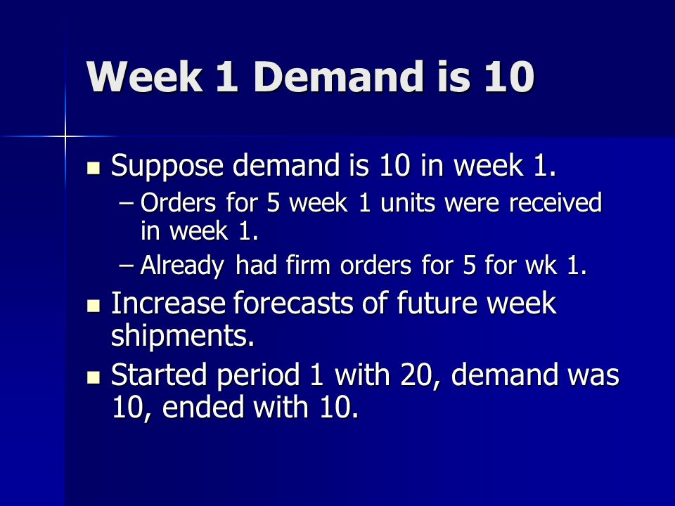 Week 1 Demand is 10 Suppose demand is 10 in week 1.
