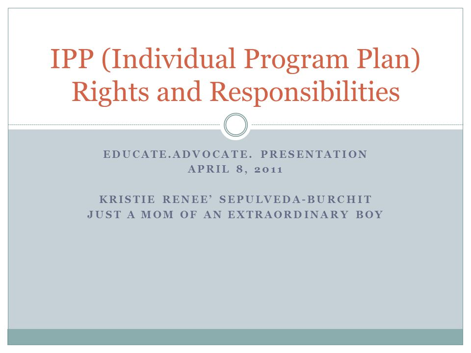 IPP (Individual Program Plan) Rights and Responsibilities