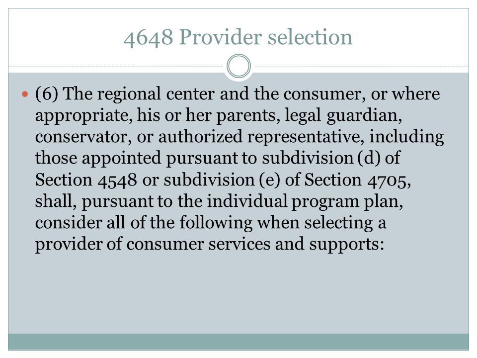 4648 Provider selection