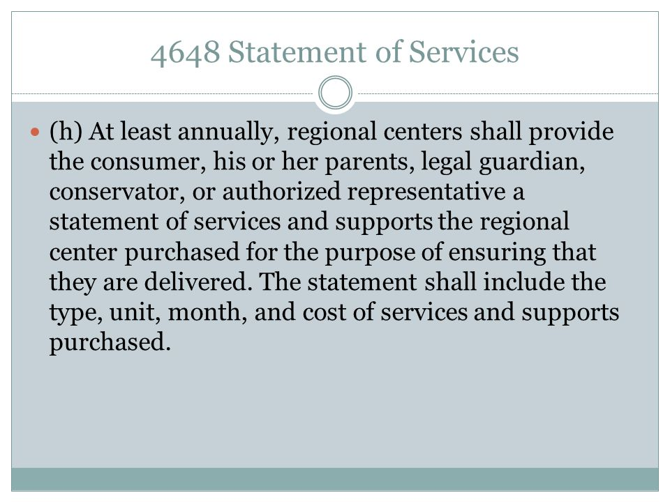 4648 Statement of Services