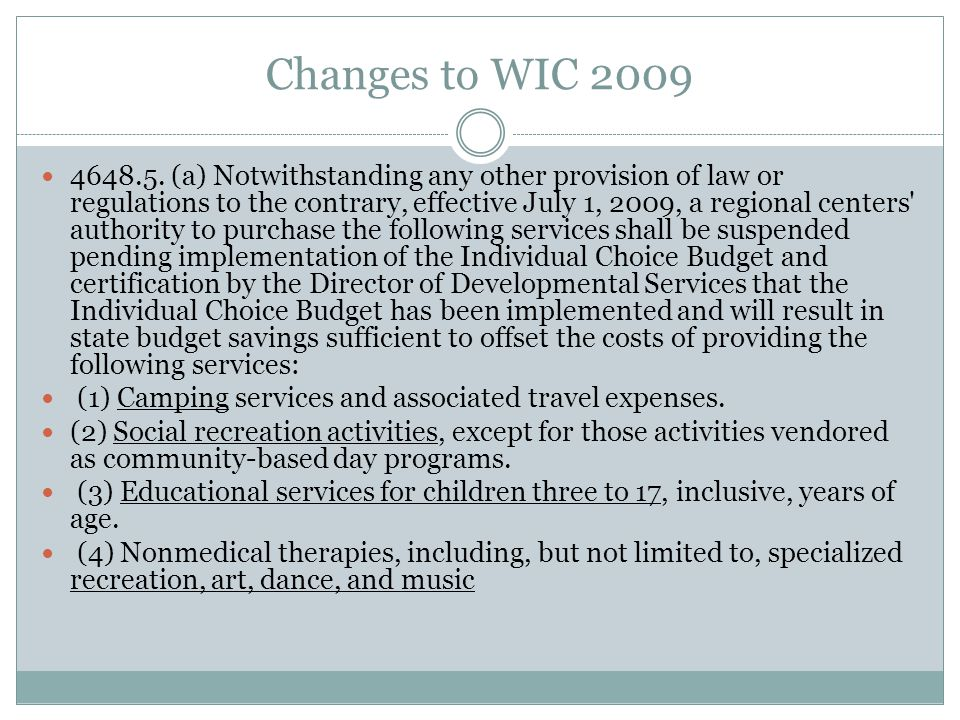Changes to WIC 2009