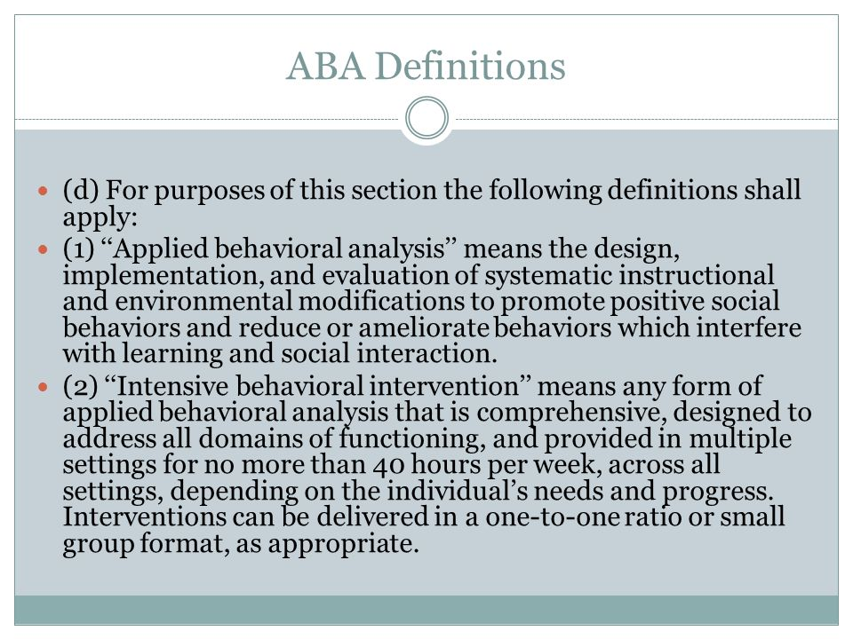 ABA Definitions (d) For purposes of this section the following definitions shall apply:
