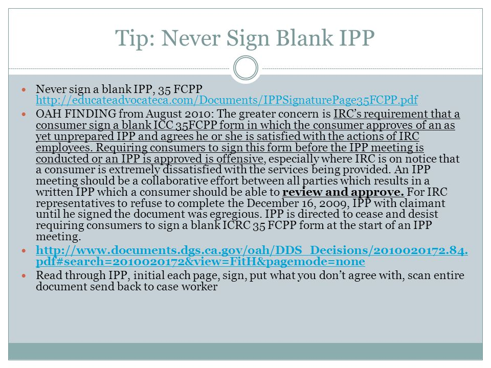 Tip: Never Sign Blank IPP