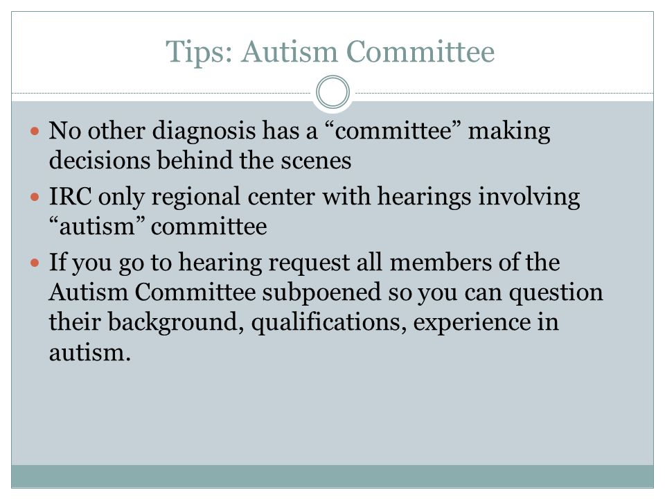 Tips: Autism Committee
