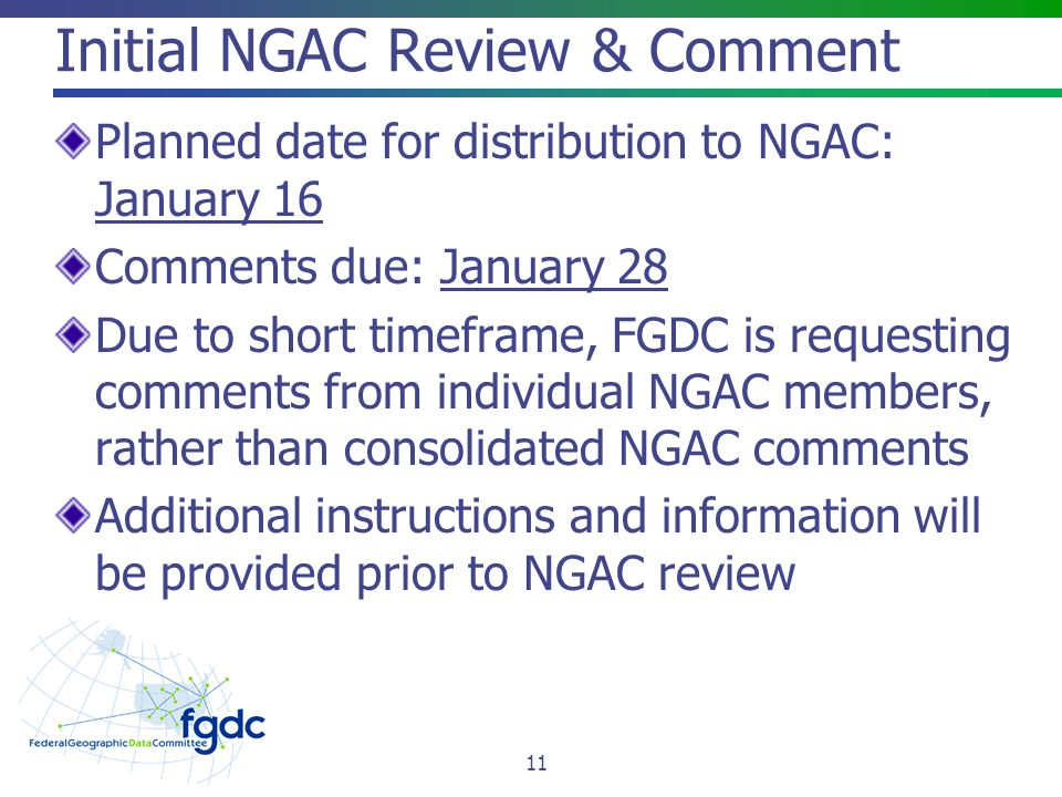 Initial NGAC Review & Comment