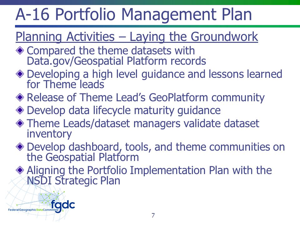 A-16 Portfolio Management Plan