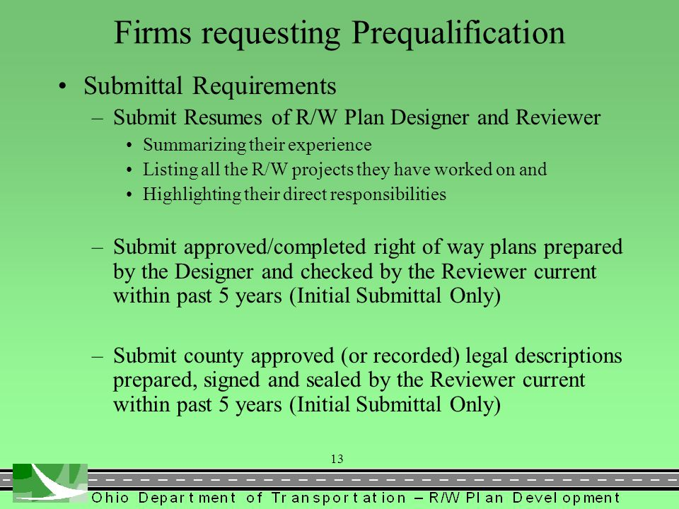 Firms requesting Prequalification