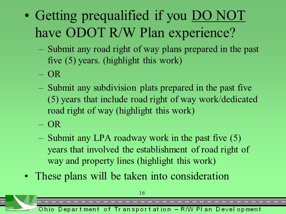 Getting prequalified if you DO NOT have ODOT R/W Plan experience
