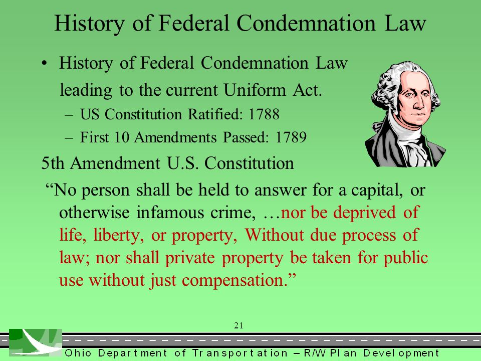 History of Federal Condemnation Law