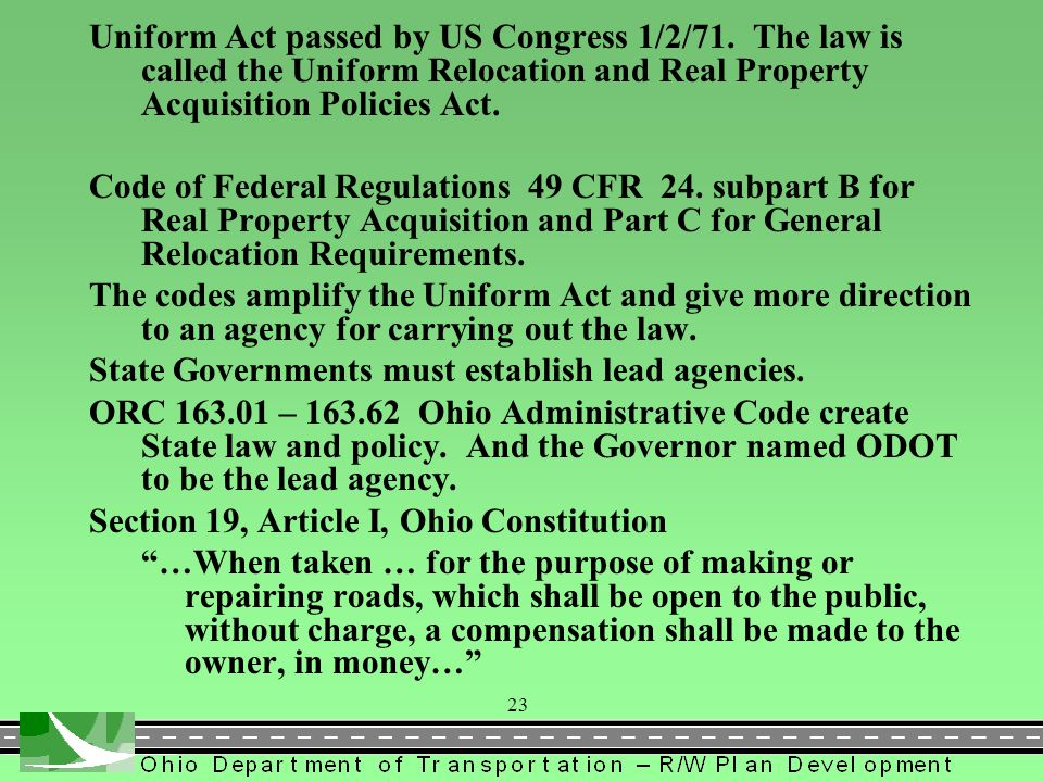 Uniform Act passed by US Congress 1/2/71