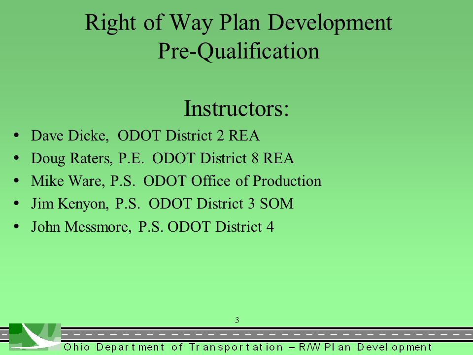 Right of Way Plan Development Pre-Qualification