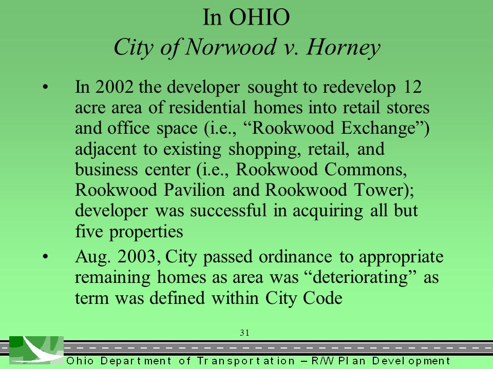 In OHIO City of Norwood v. Horney