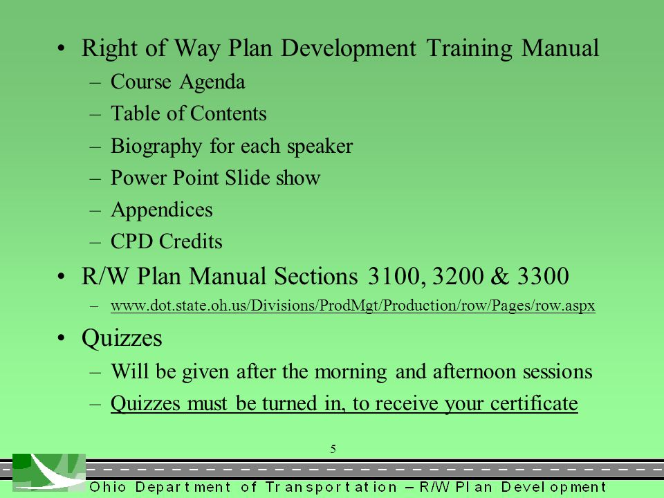 Right of Way Plan Development Training Manual