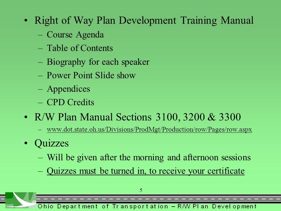 Right of Way Plan Development Training Manual